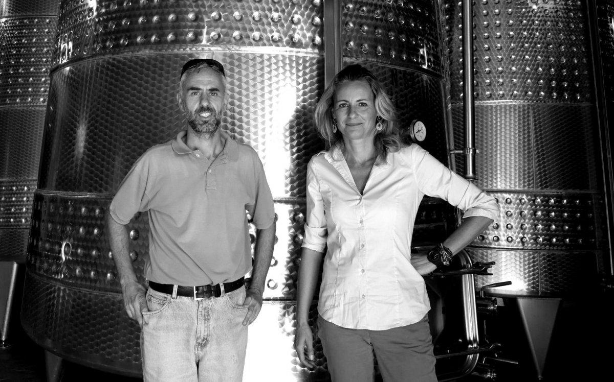 Энолог хозяйства Андреа Джованини и Лаура Бьянки